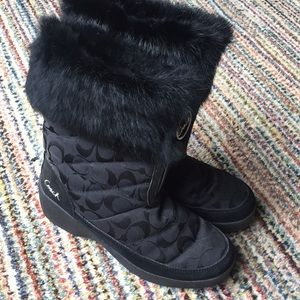 "Coach ""Faith"" fur trimmed boots"